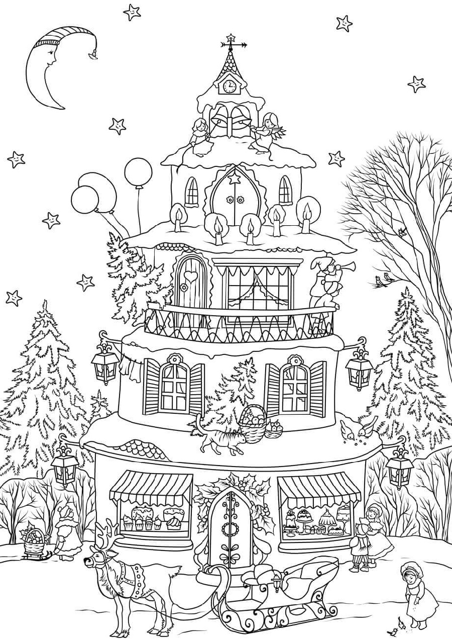 Free Printable Christmas Coloring Pages House
