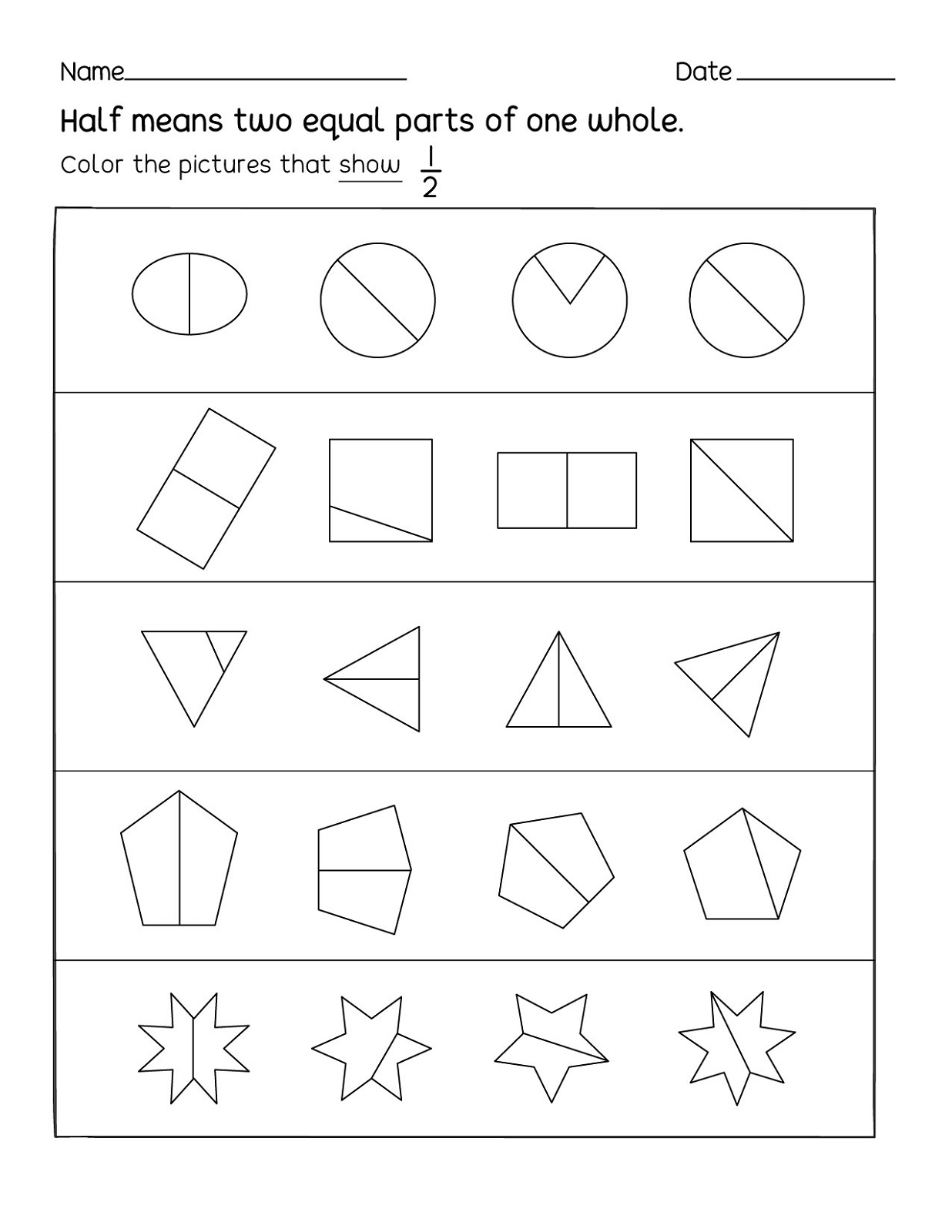 Fun Activity Worksheets Fractions