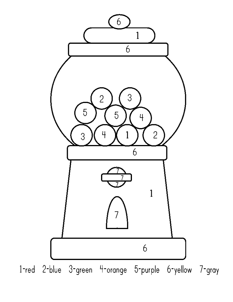 Gumball Machine Coloring Page Color By Number