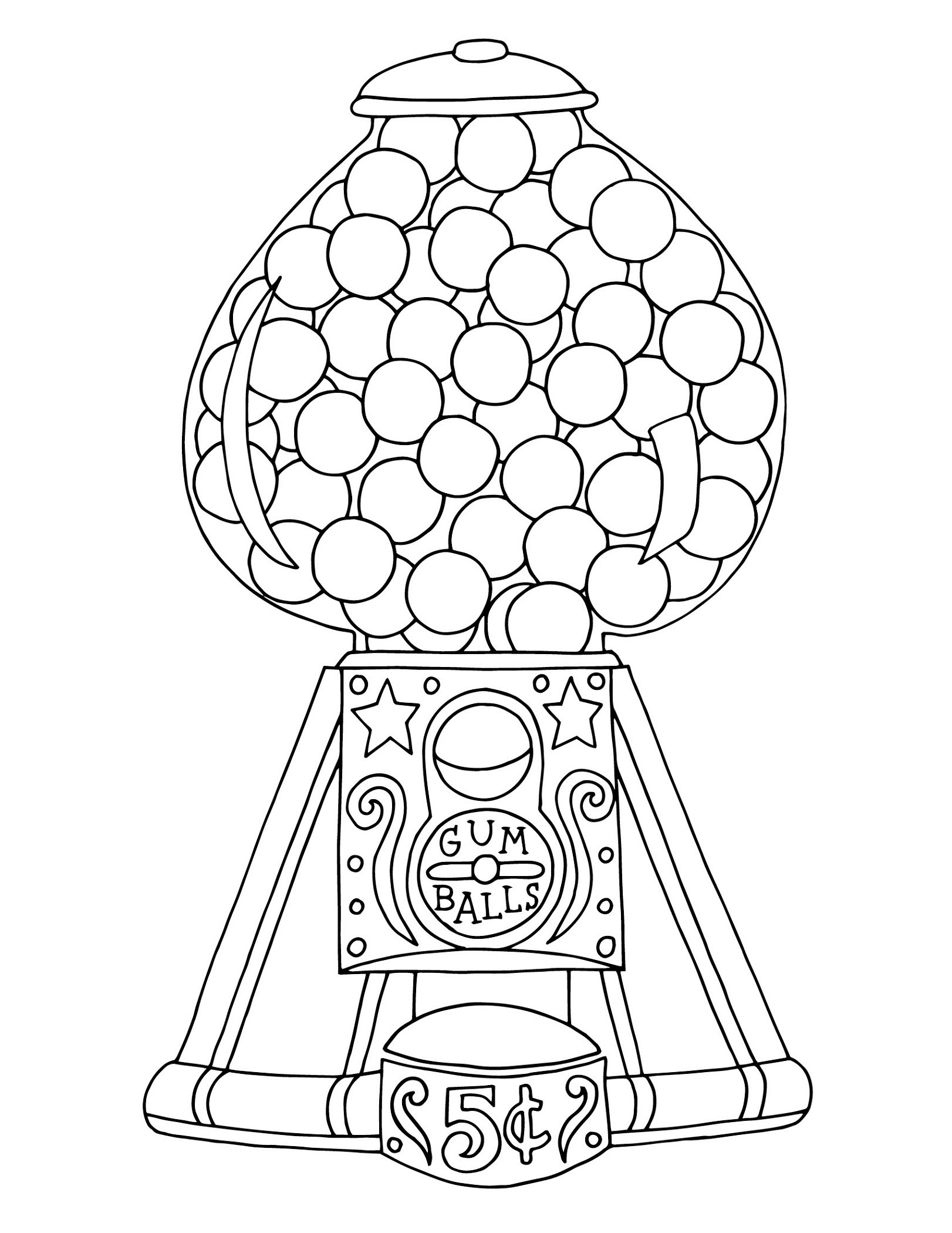 Gumball Machine Coloring Page Printable