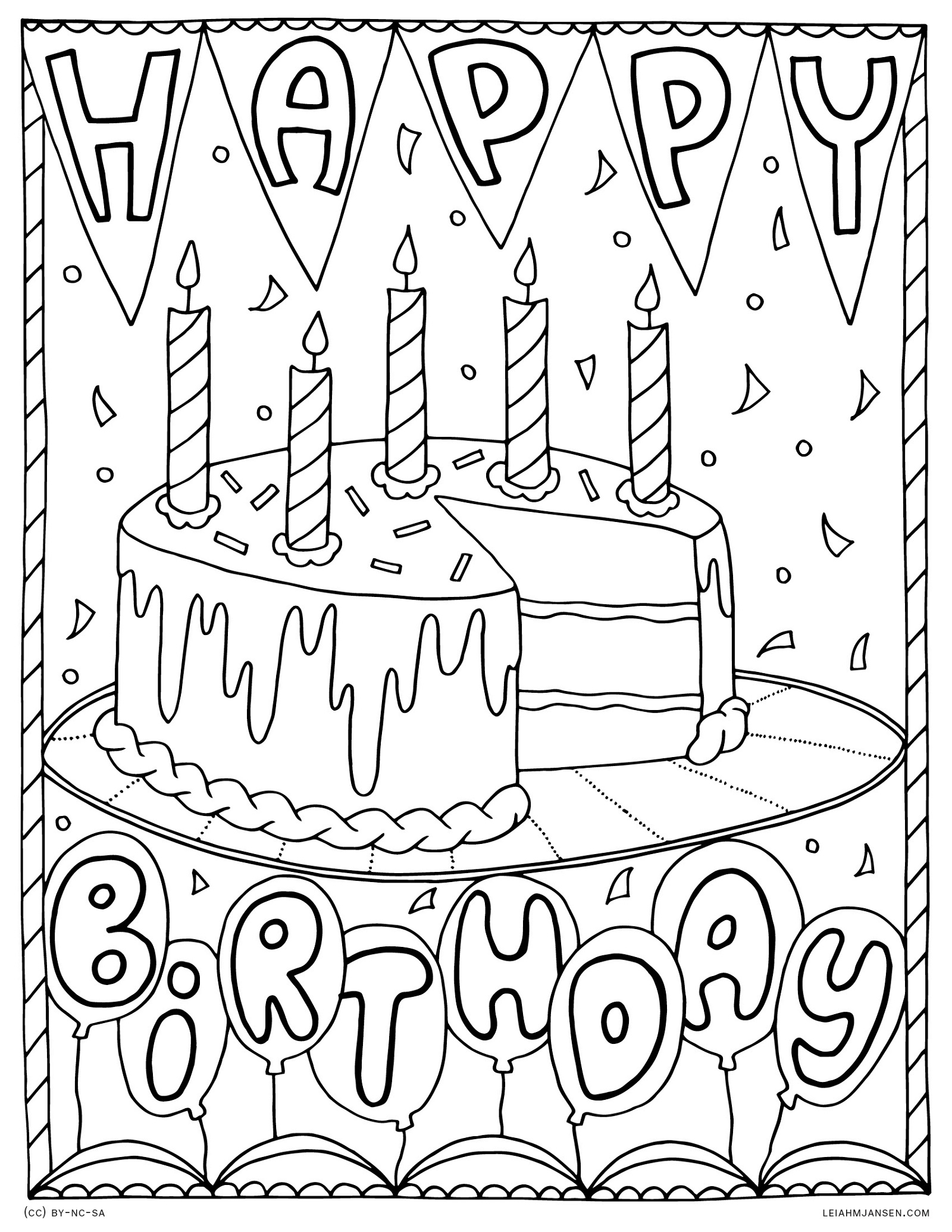 Happy Birthday Coloring Pages Card