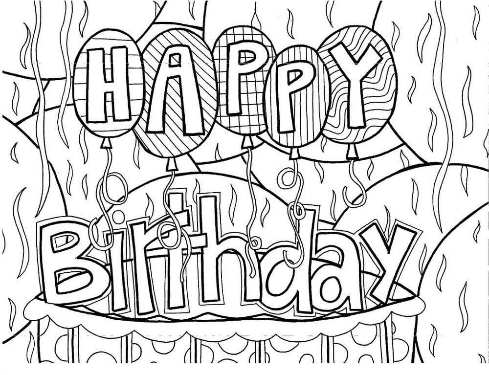 Happy Birthday Coloring Pages Doodle