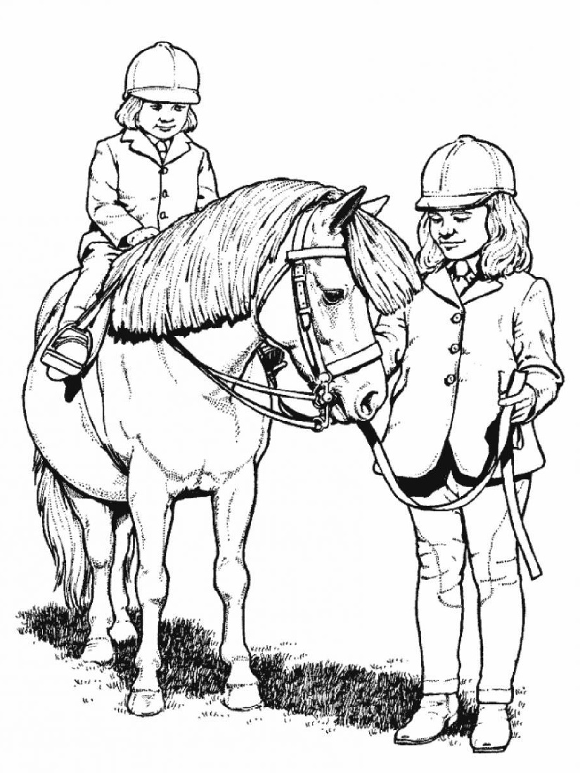 Horse Coloring Book With Rider