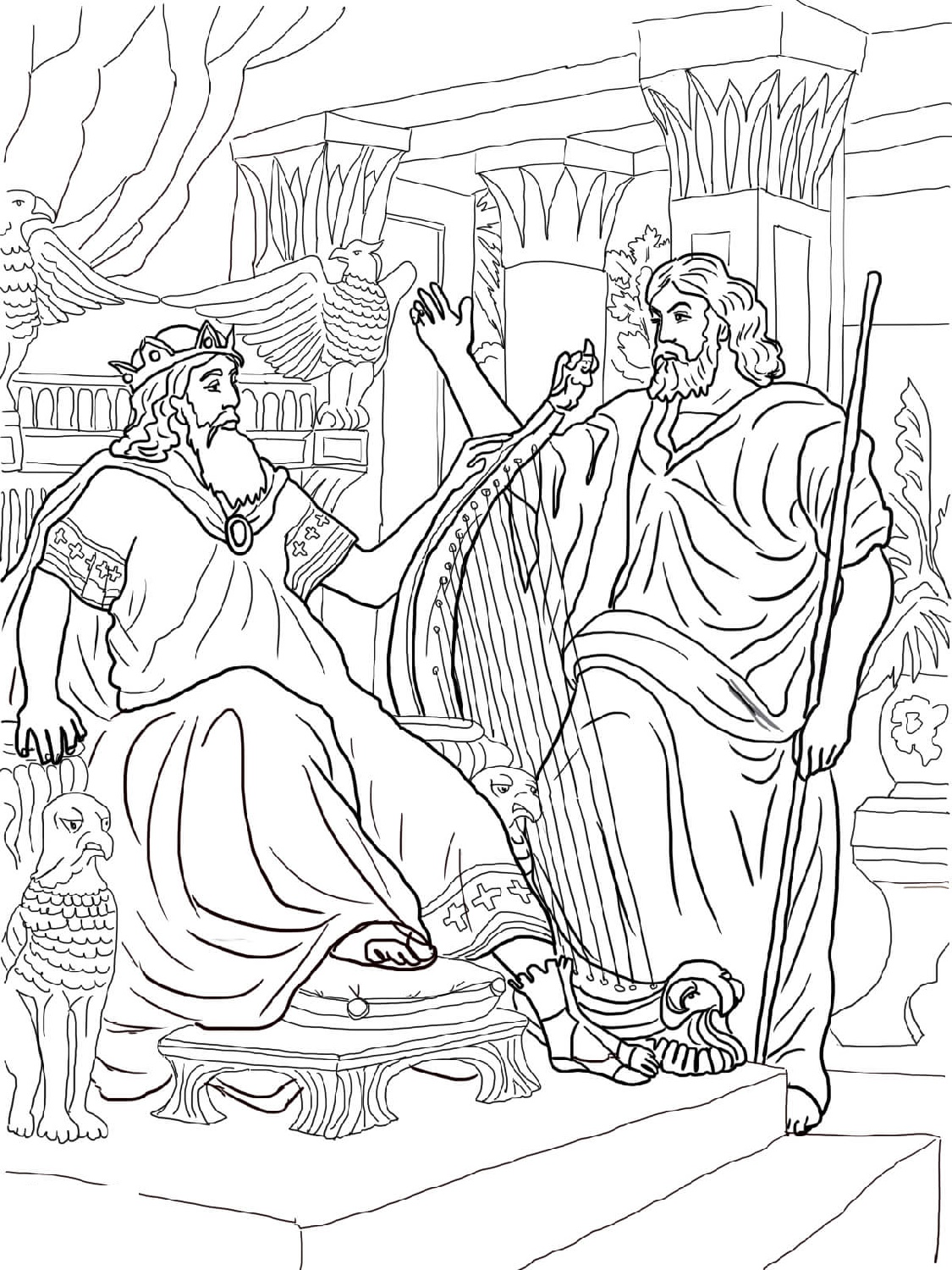 King David Coloring Pages And Nathan