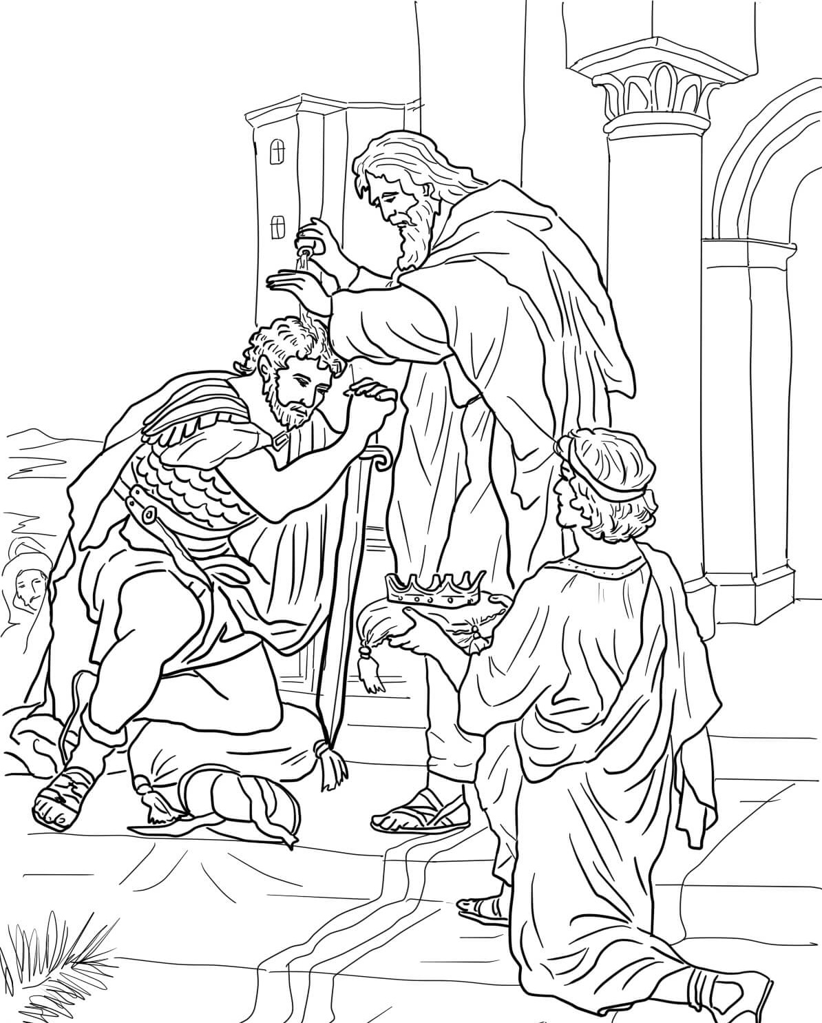 King David Coloring Pages Crowned