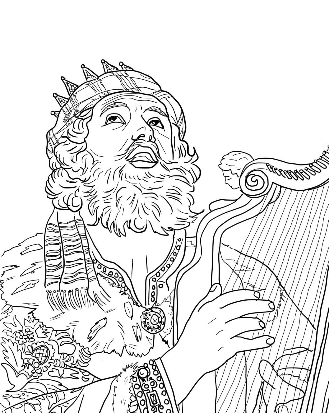 King David Coloring Pages Playing Harp