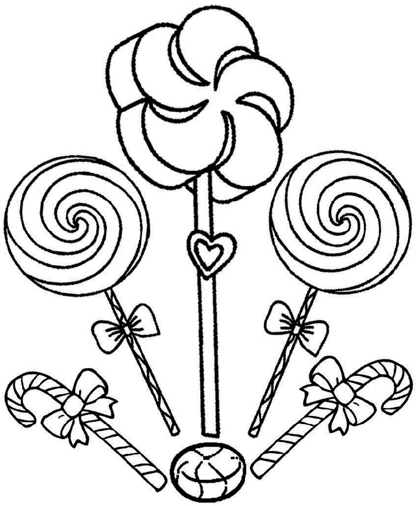 Lollipop Coloring Page For Kids