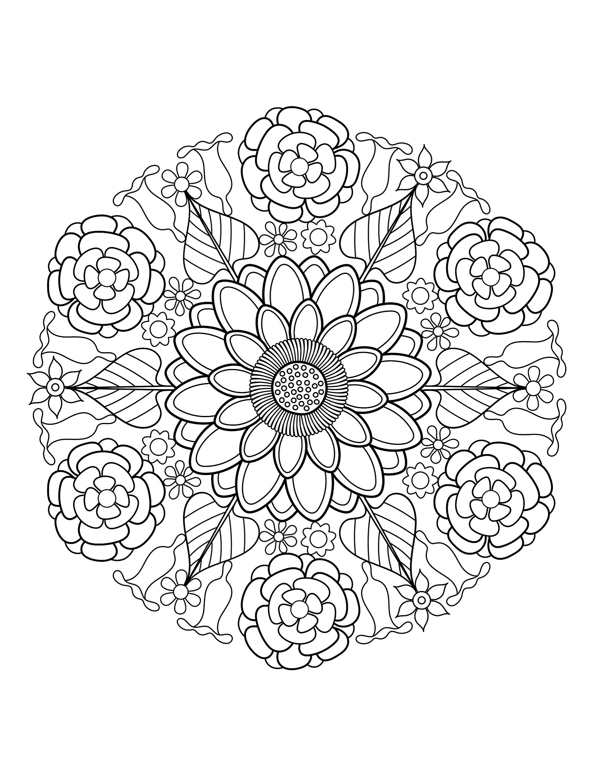 Mandala Coloring Book Flower