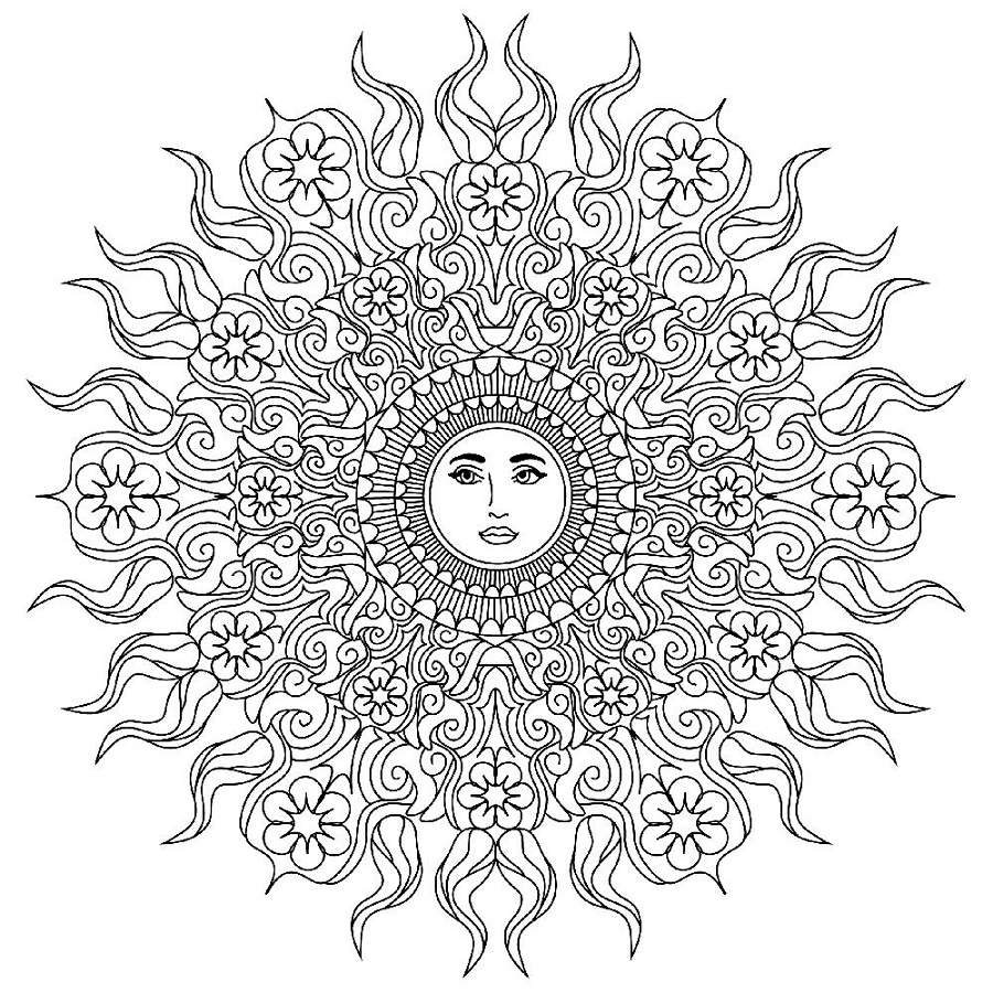 Mandala Coloring Book Sun