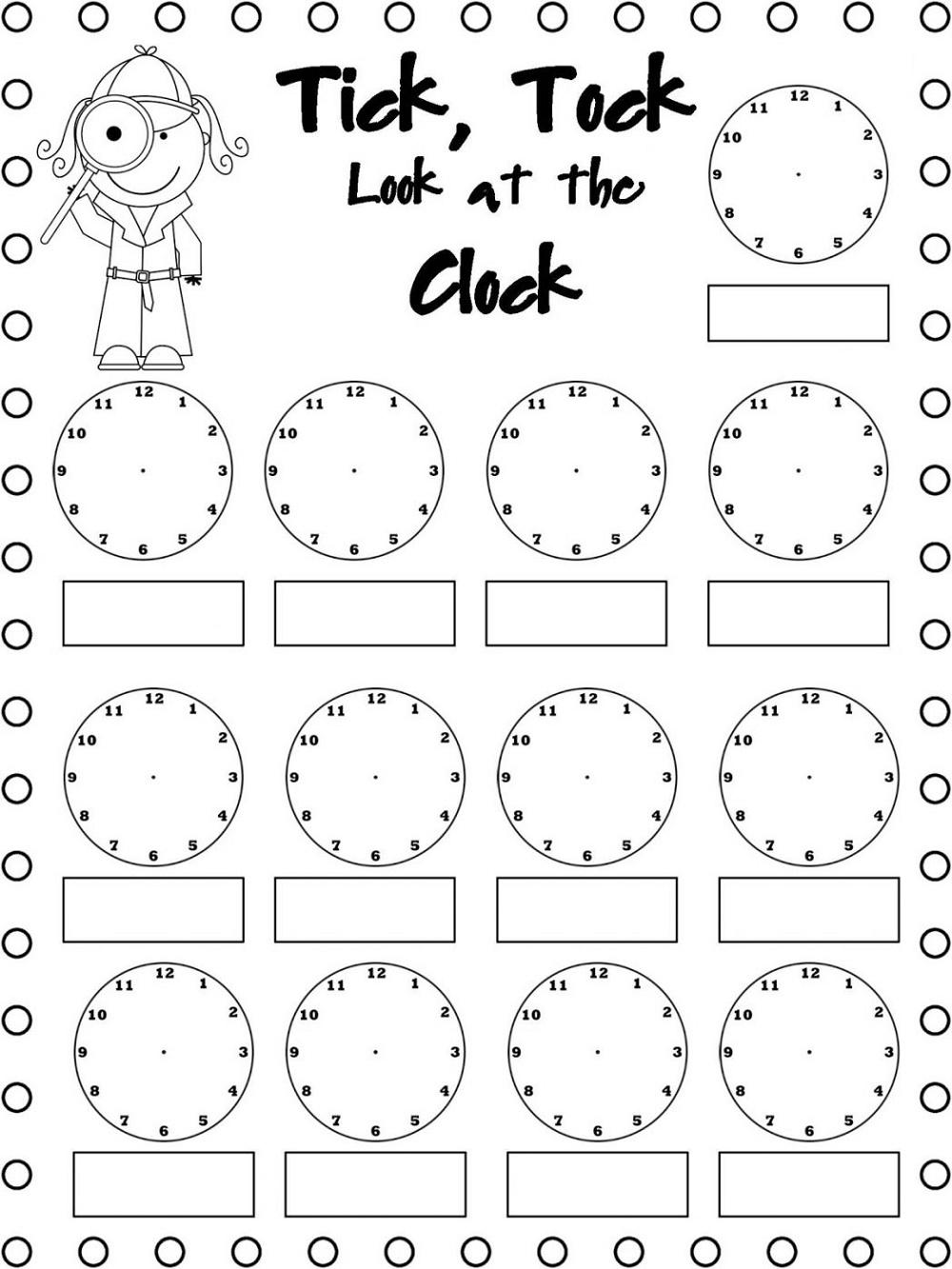 Mathematics Worksheets Clock