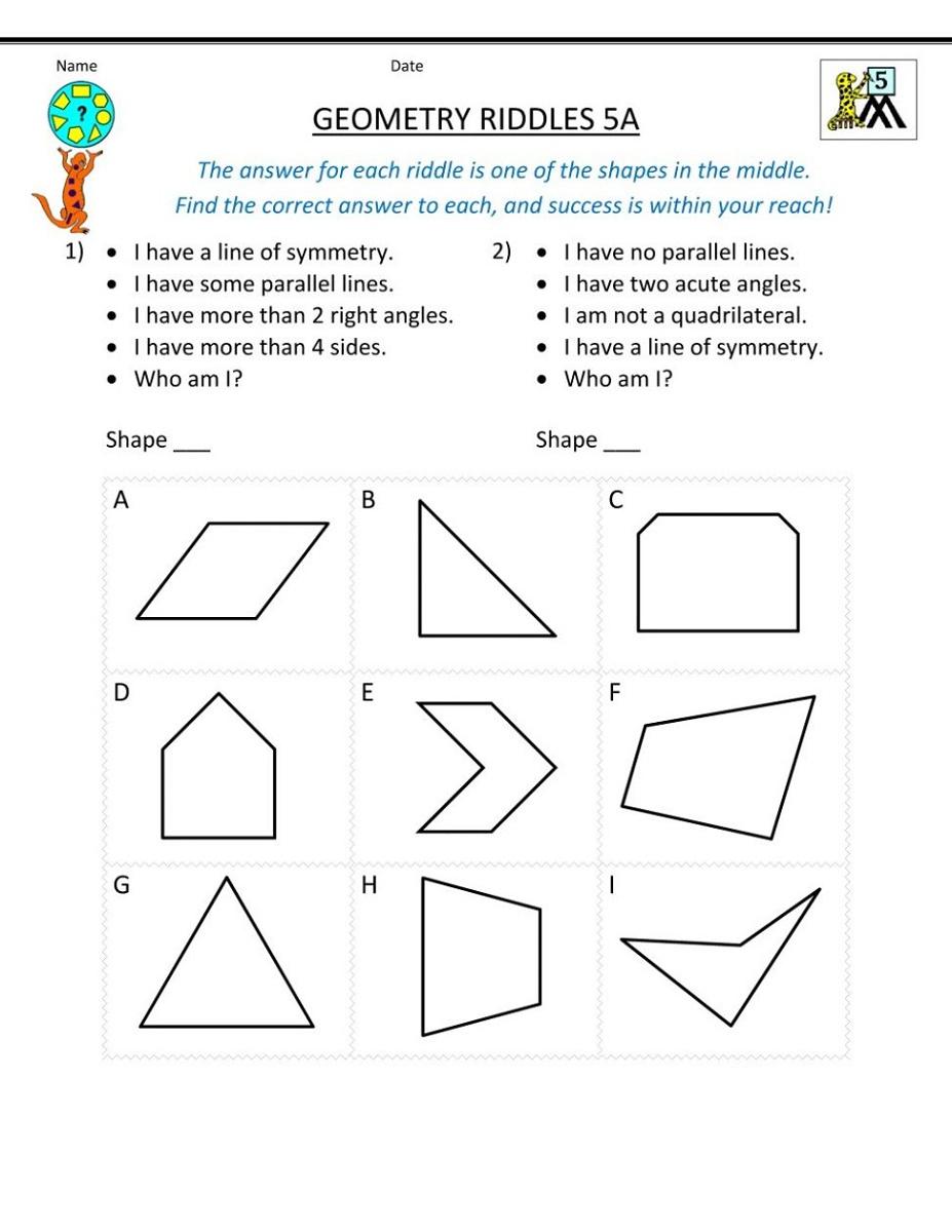 Mathematics Worksheets Geometry