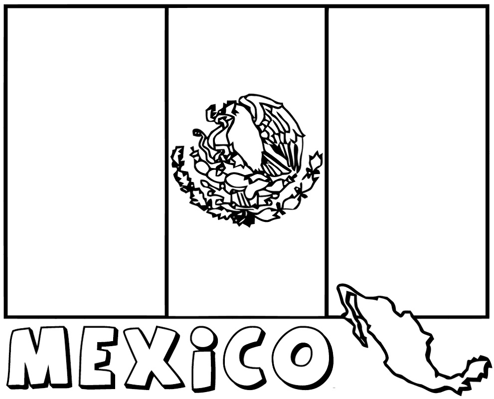 Mexican Flag Coloring Page Free