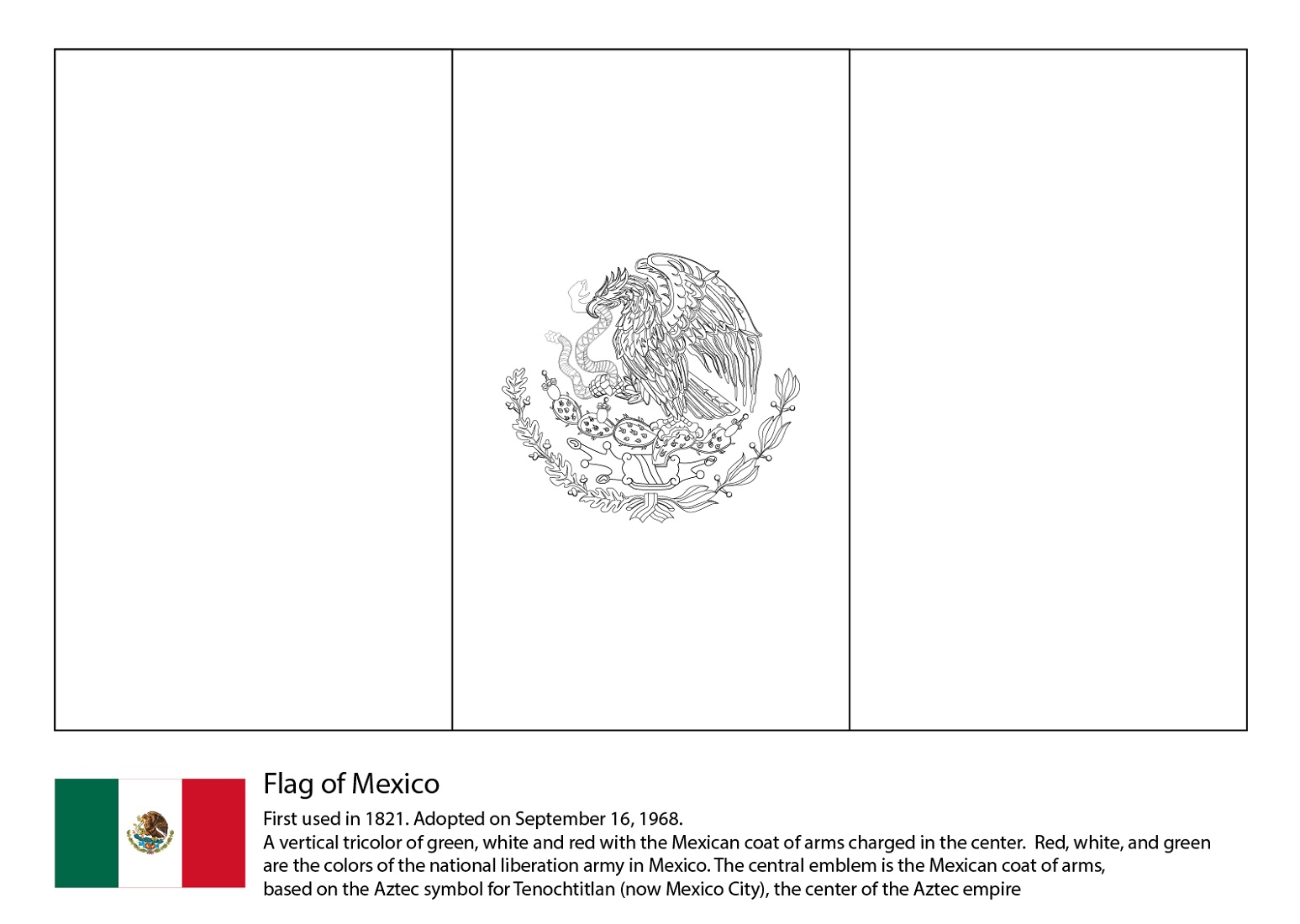 Mexican Flag Coloring Page Printable