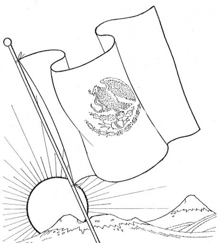 Mexican Flag Coloring Page Waving