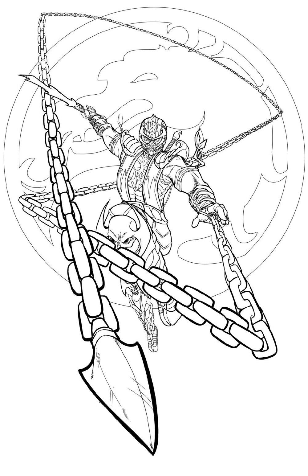 Mortal Kombat Coloring Pages Scorpion