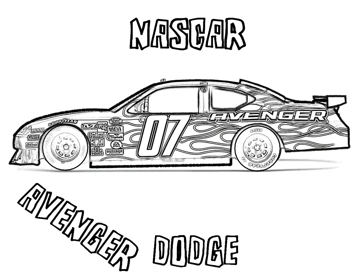 Nascar Coloring Pages Dodge AvengerNascar Coloring Pages Dodge Avenger