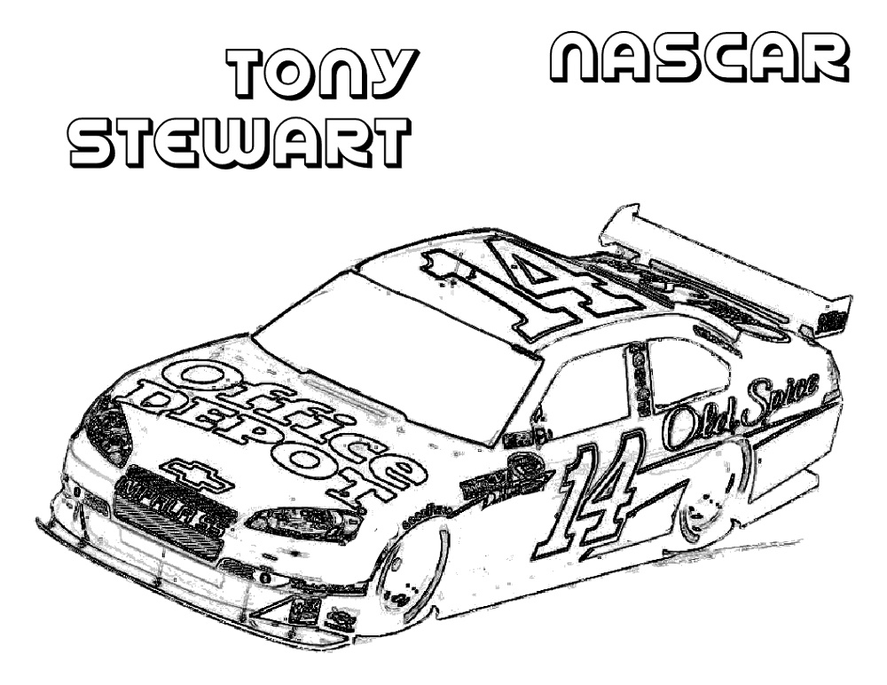 Nascar Coloring Pages Tony Stewart