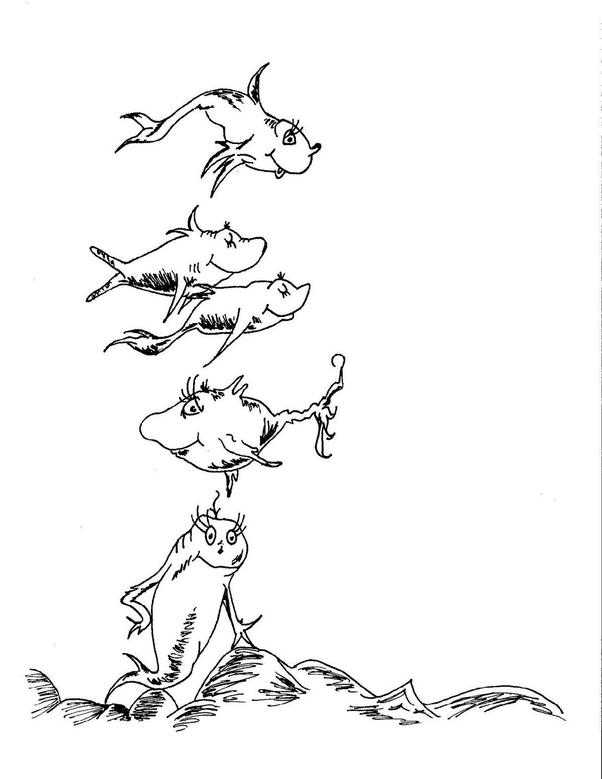 One Fish Two Fish Coloring Page Dr. Seuss