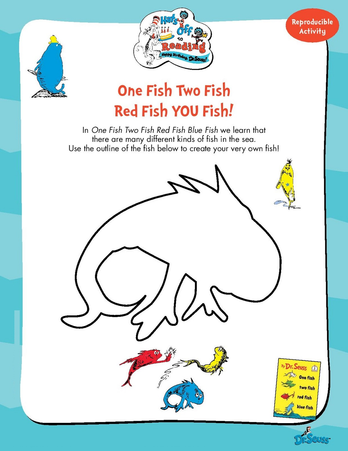 picture relating to One Fish Two Fish Printable referred to as Just one Fish 2 Fish Coloring Website page K5 Worksheets