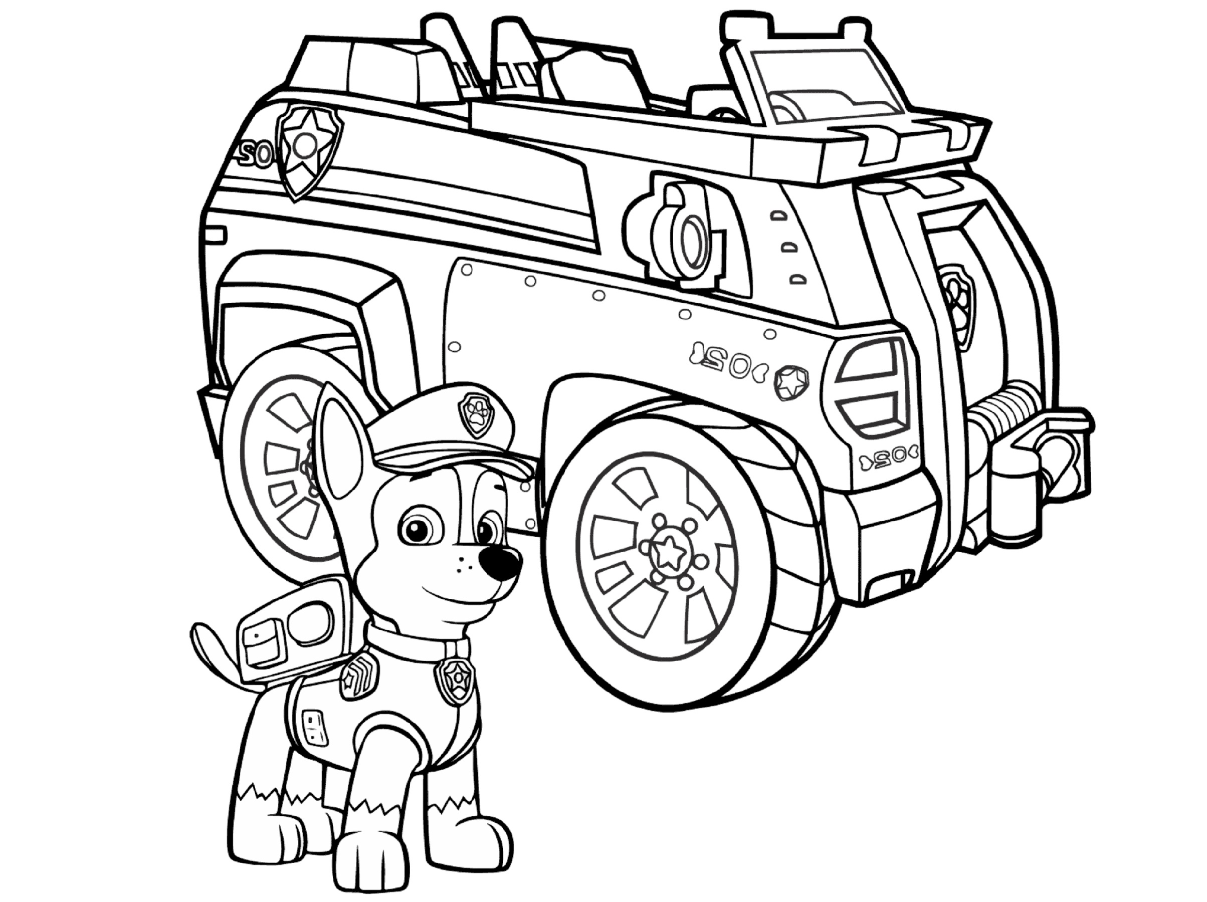 Paw Patrol Coloring Sheets Police Car
