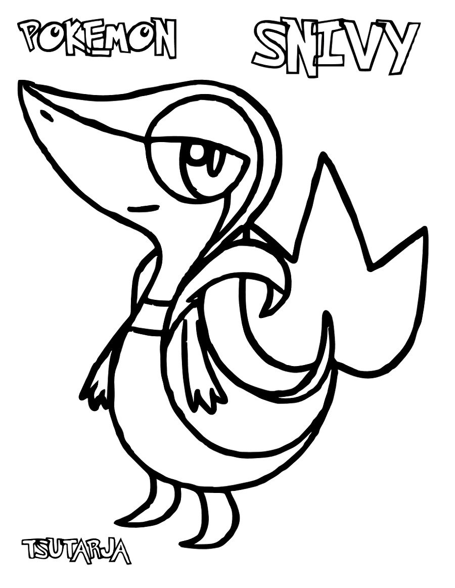 Pokemon Printable Coloring Pages Snivy