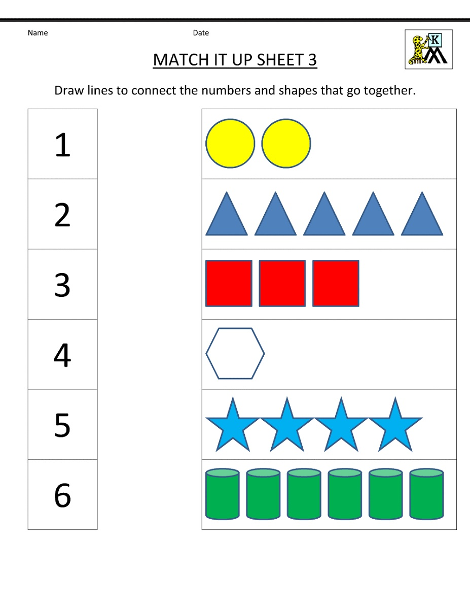 Preschool Math Worksheets Free Matching