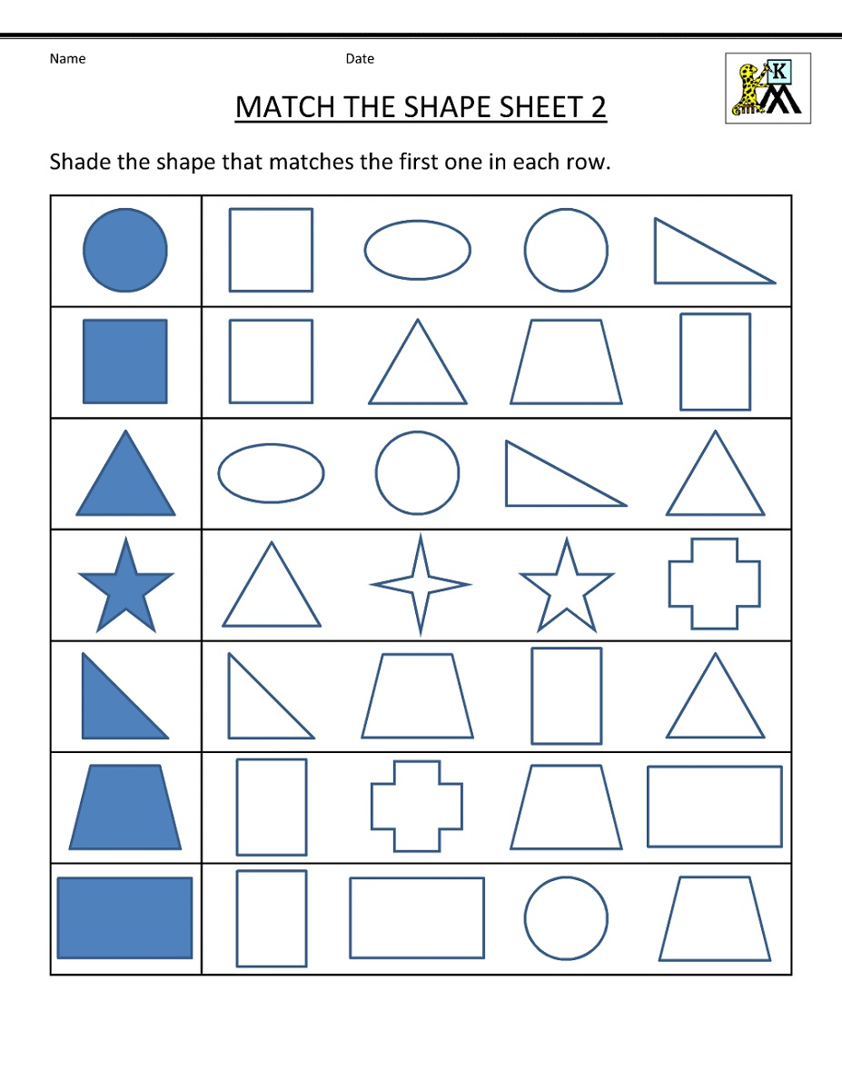 Preschool Math Worksheets Free Shapes