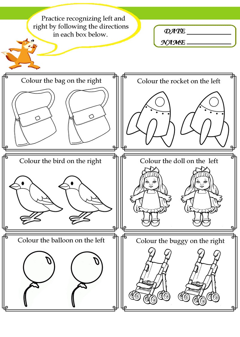 Printable Activities For Kids Left And Right