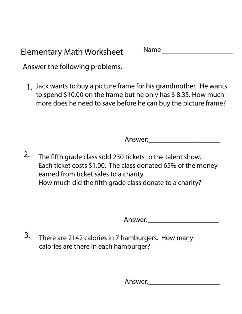 Printable Practice Math Problems Elementary