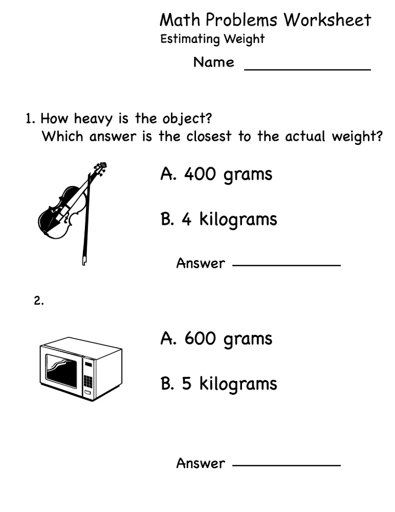 Printable Practice Math Problems Estimating Weight