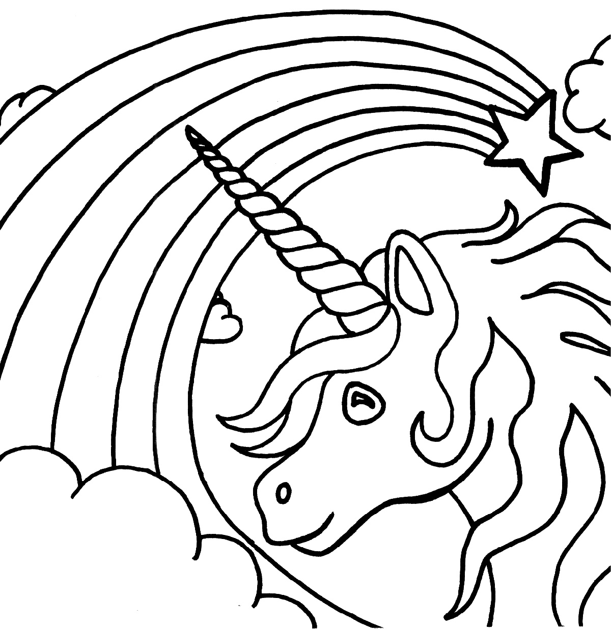 Rainbow Coloring Page And Unicorn