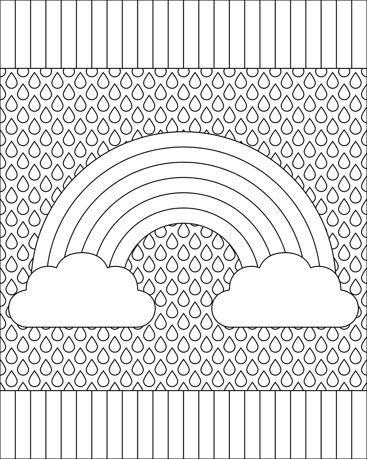 Rainbow Coloring Page For Adults