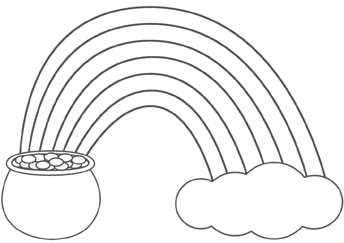 Rainbow Coloring Page With Pot of Gold