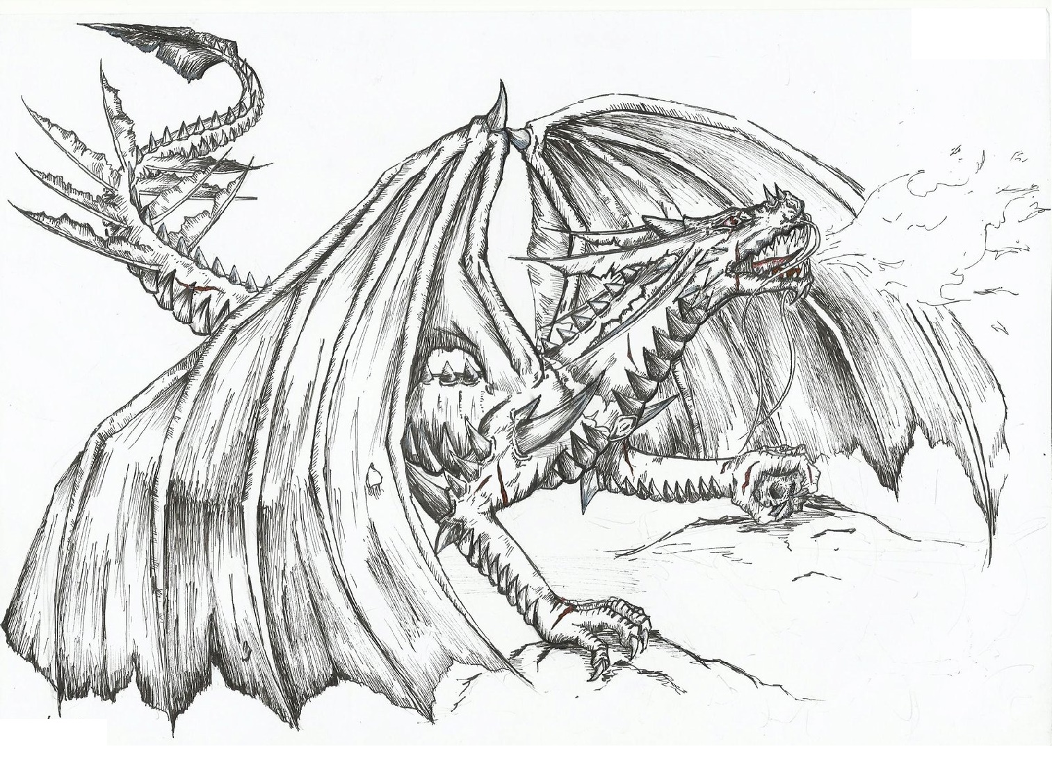 Realistic Dragon Coloring Pages Fire Breathing