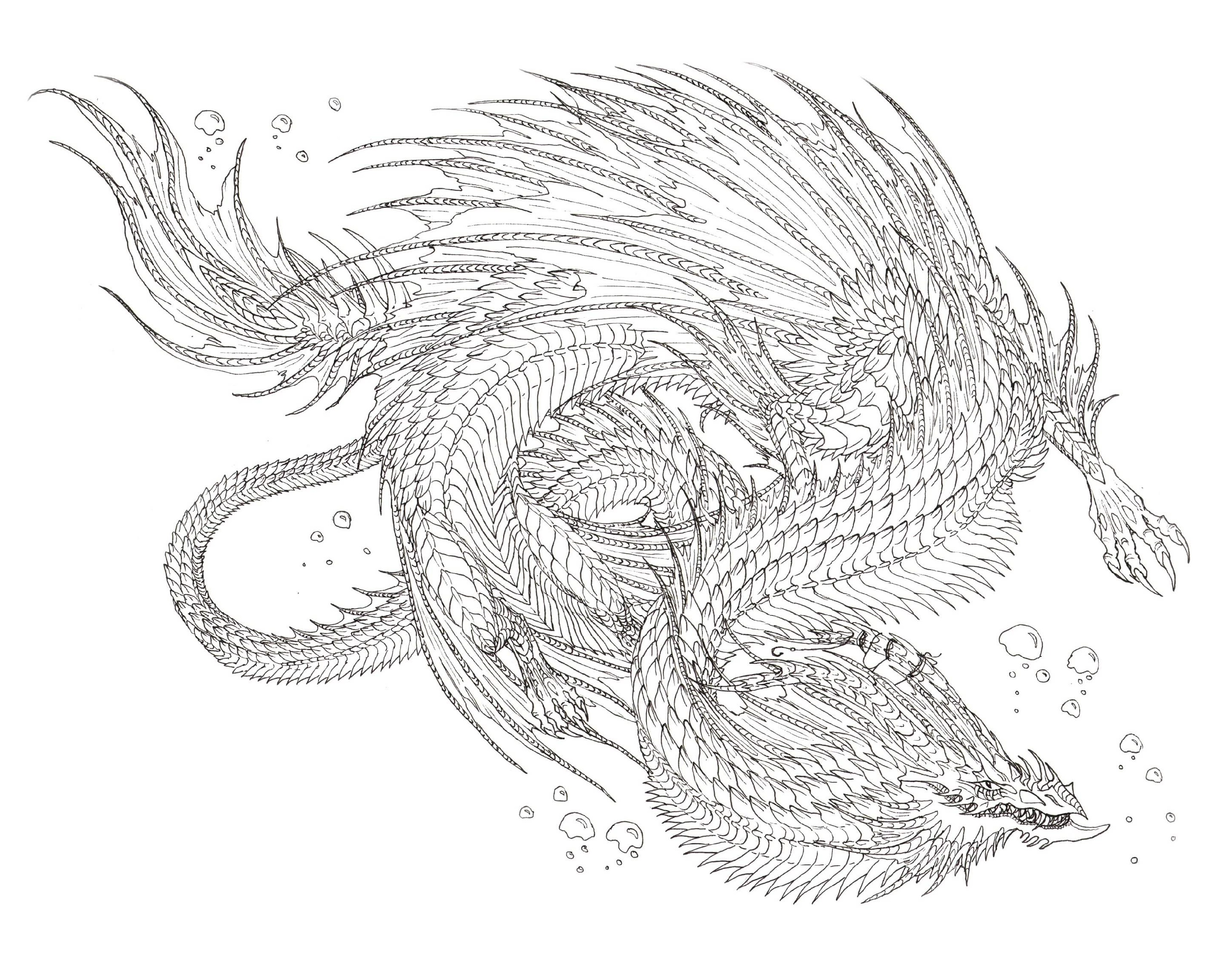 Realistic Dragon Coloring Pages Sea Serpent