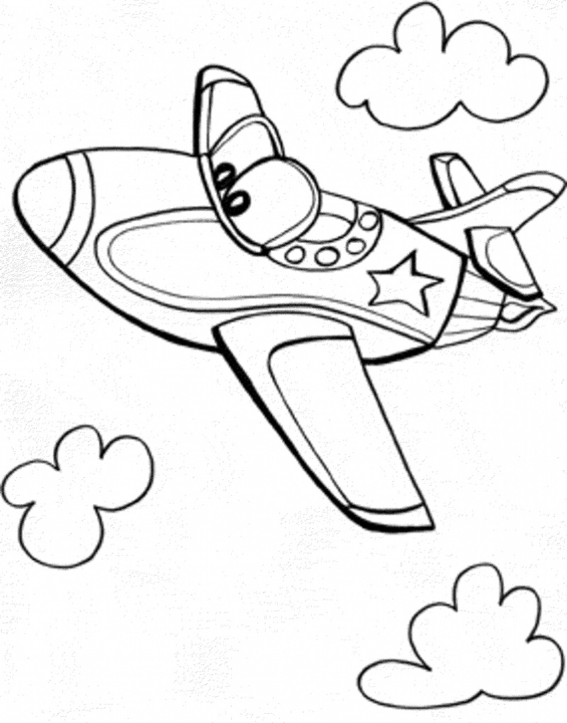 Simple Coloring Pages Airplane