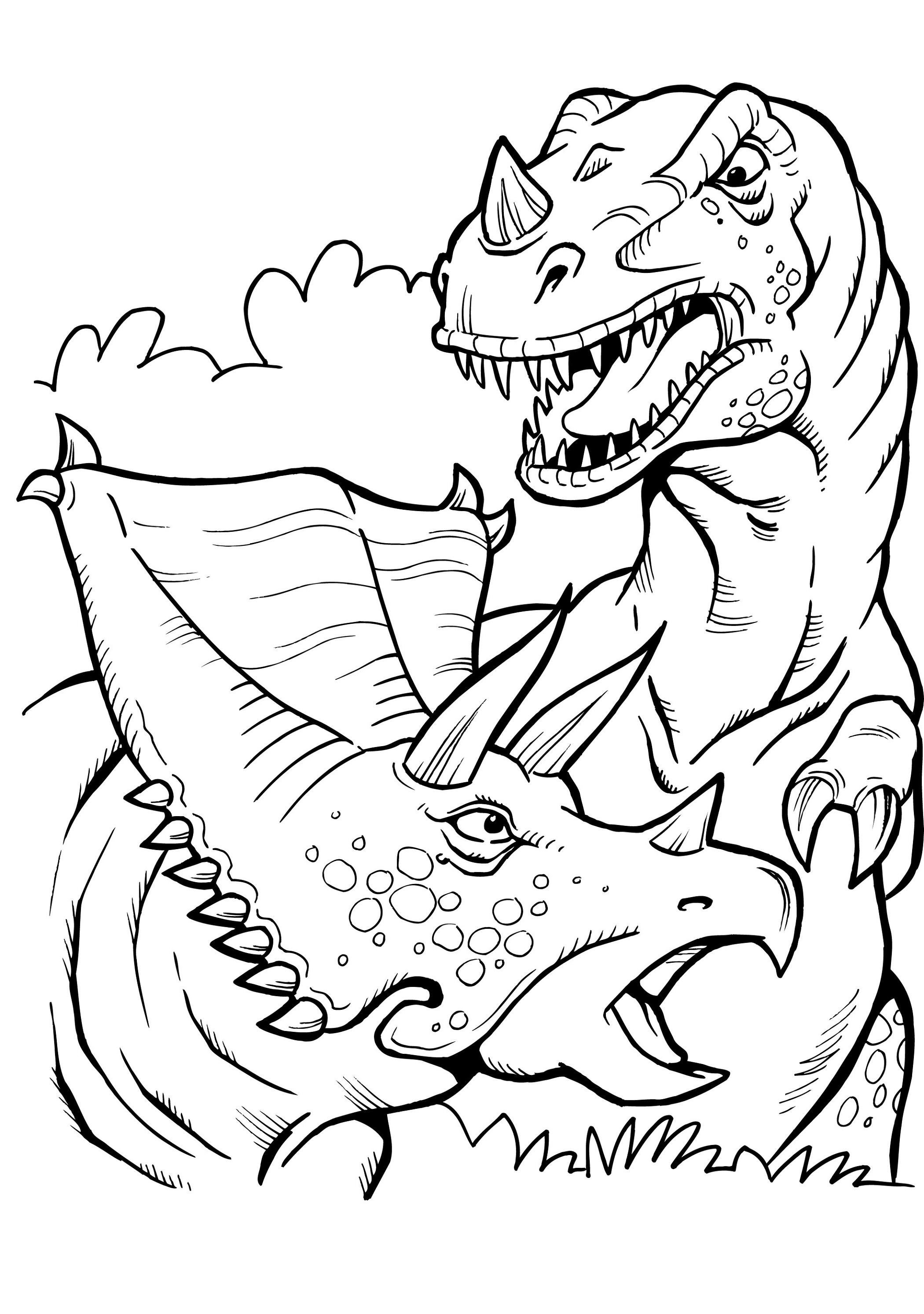 T Rex Coloring Page And Triceratops