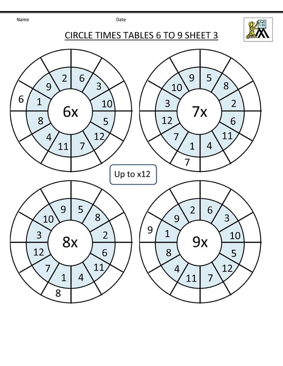 Times Tables Worksheets Circle