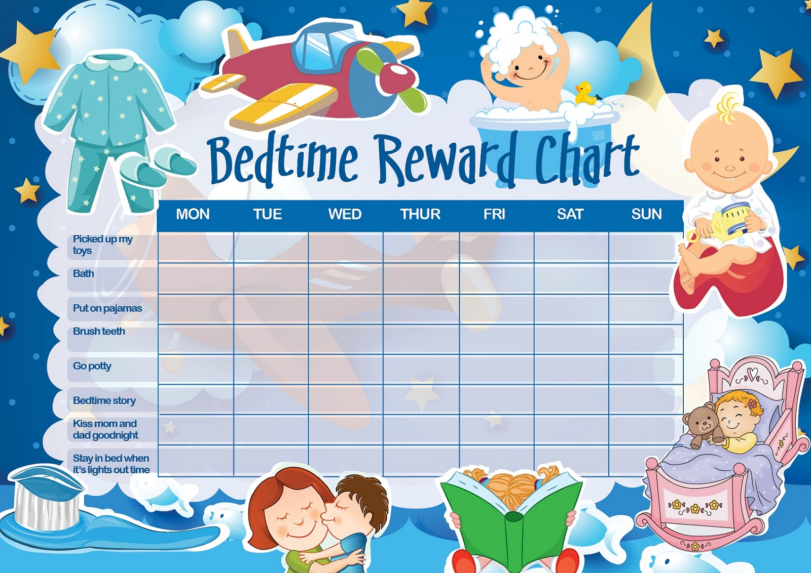 Toddler Reward Chart Bedtime