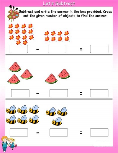 Year 1 Maths Worksheets Subtraction