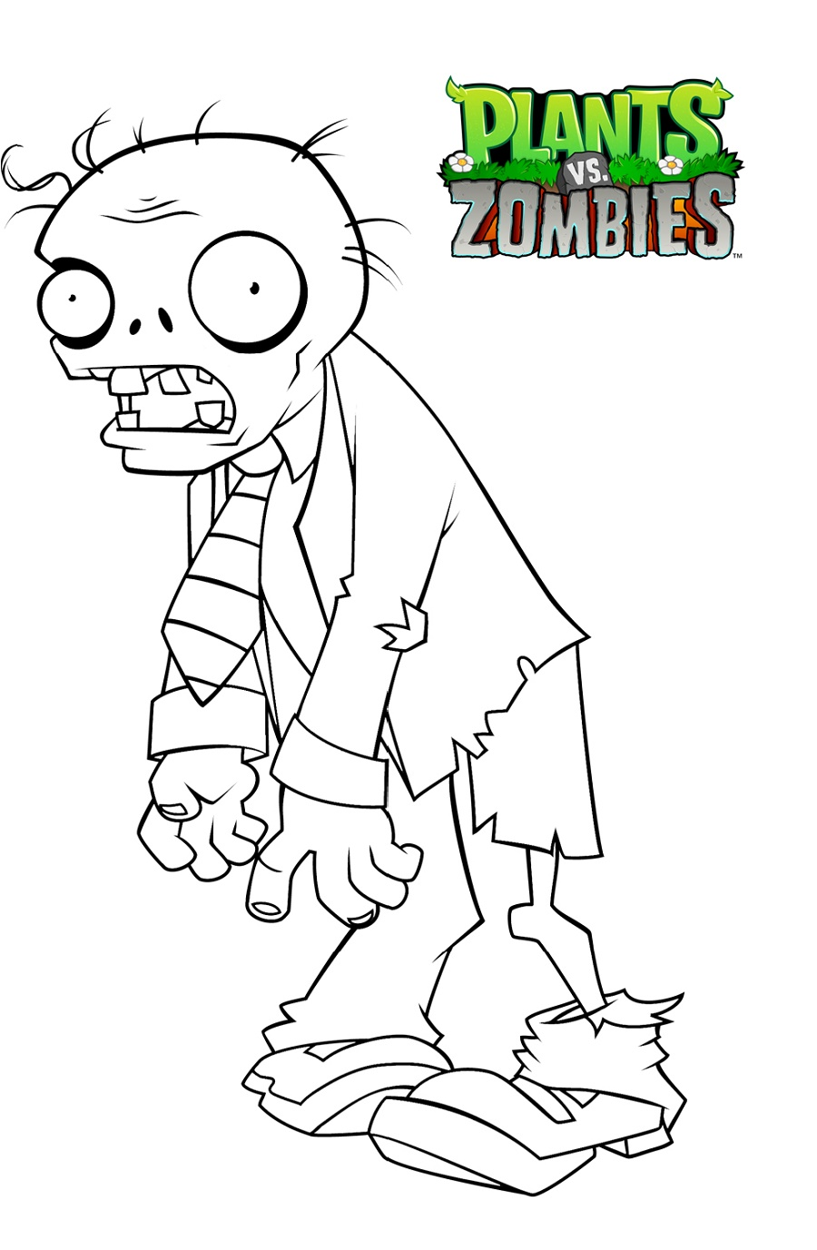 Zombie Coloring Pages Plant VS Zombies