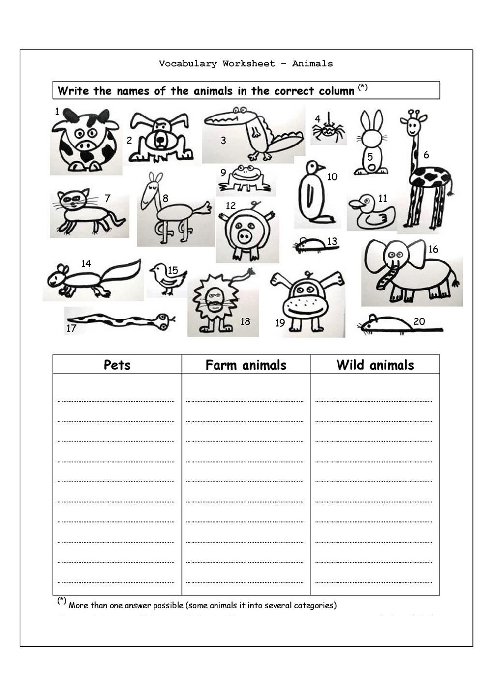 4th Grade Worksheets Animals Vocabulary