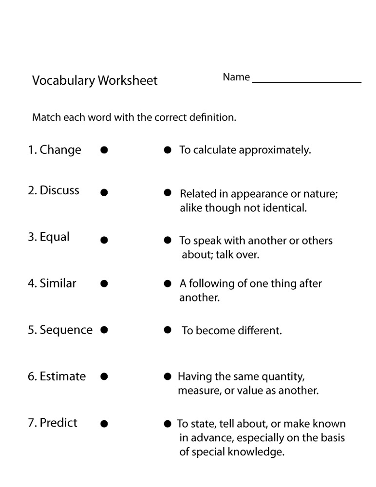 4th Grade Worksheets Vocabulary.