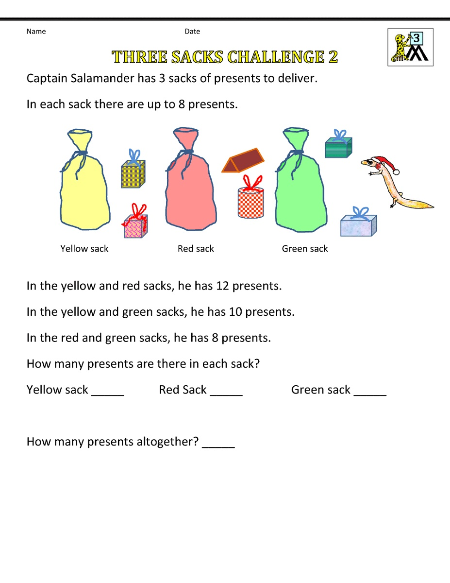 5th Grade Worksheets Christmas Math