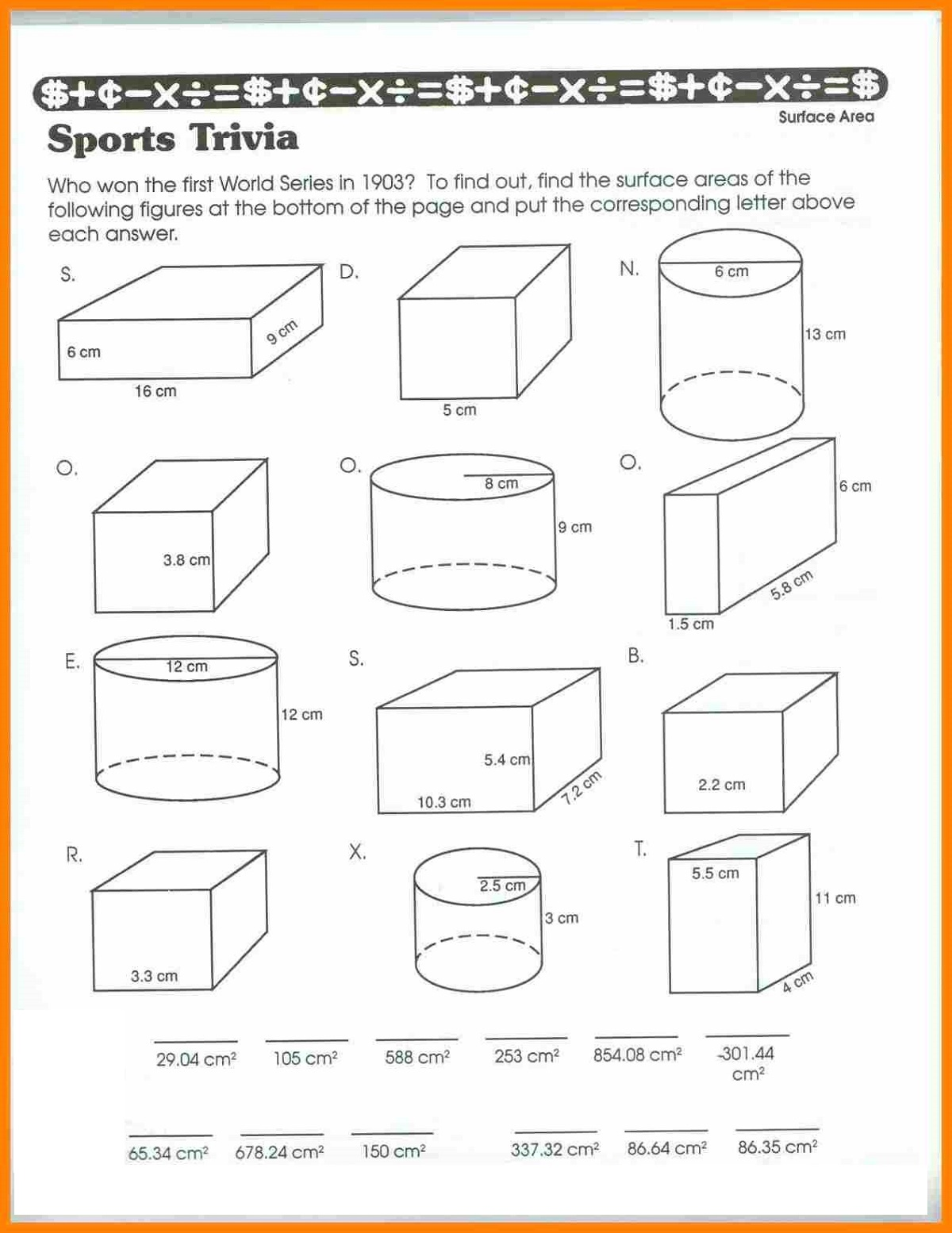 5th Grade Worksheets Math Volume