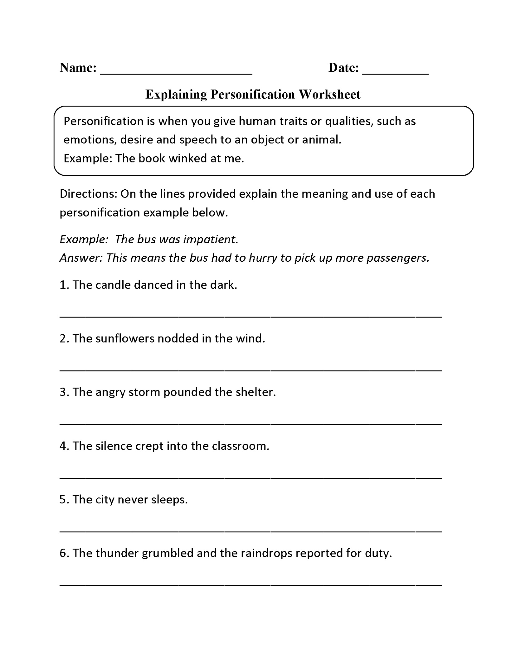 5th Grade Worksheets Personification
