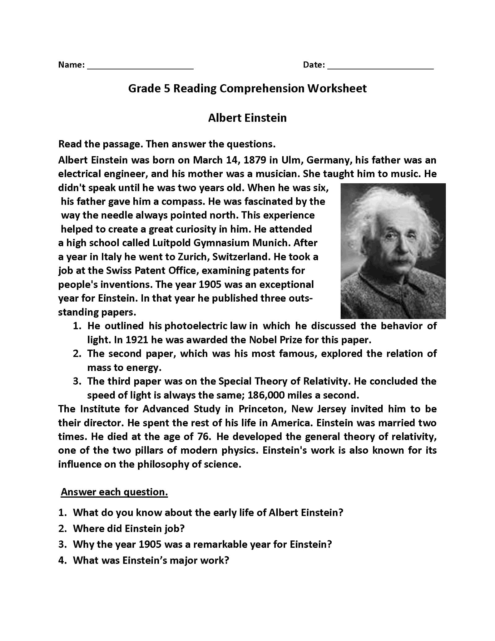 5th Grade Worksheets Reading