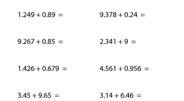 6th Grade Worksheets Math Adding Decimal
