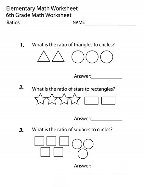 6th Grade Worksheets Math Ratios
