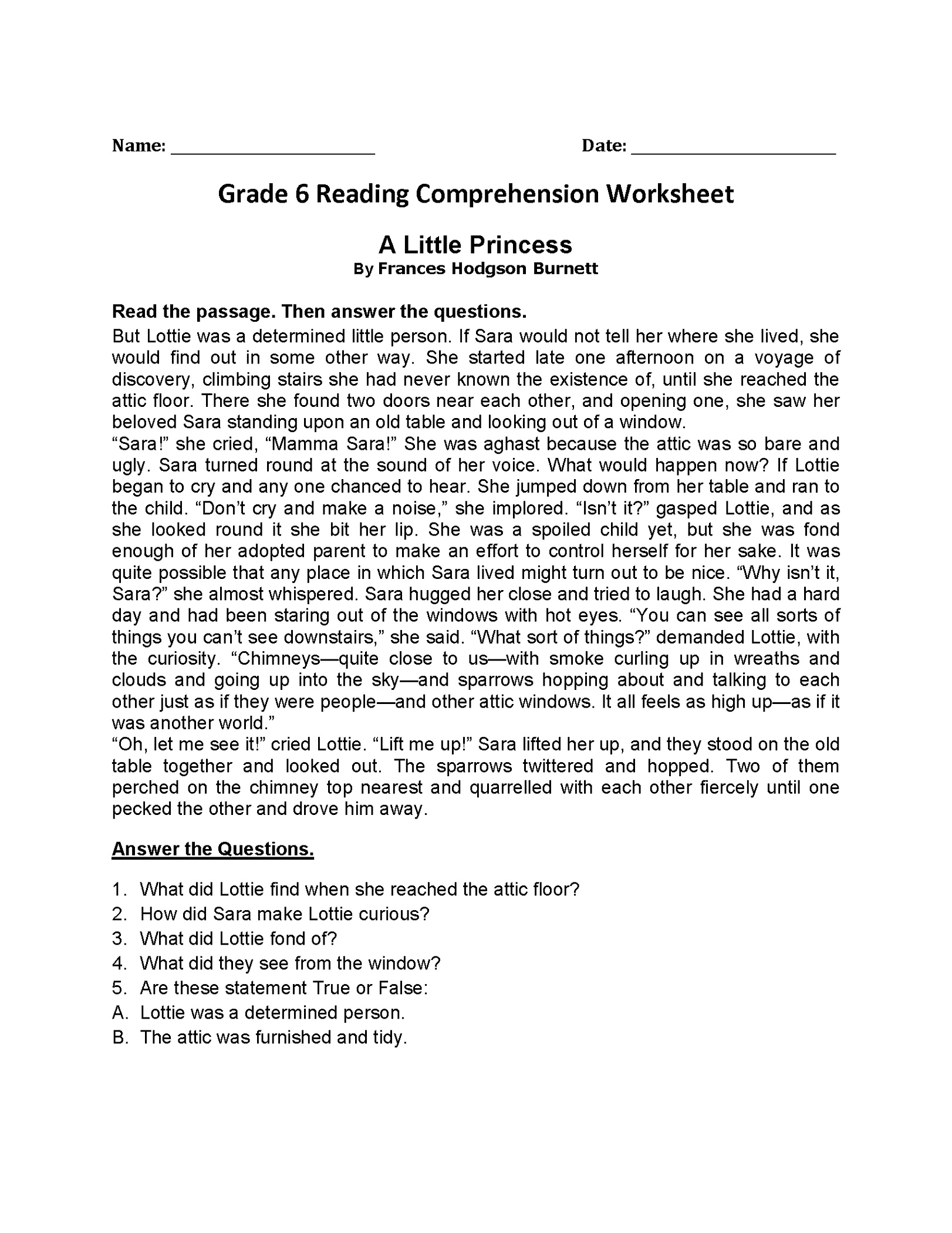 6th Grade Worksheets Reading Comprehension